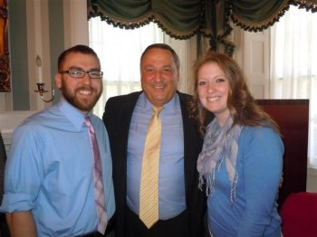 Senior nursing students Brittany Myles and Aaron Cyr posed with Maine Governor LePage at an invitational event held during the Blaine House in Augusta in-may 2013.